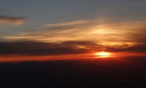 Zdjęcie ALASKA / nad Alaską / z samolotu / Zachód nad Alaską