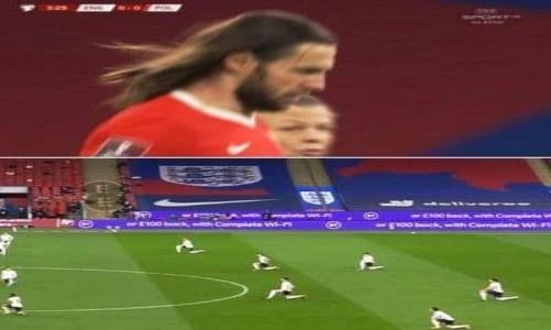 Zdjecie ANGLIA / Londyn / Wembley / Anglicy klecza, bo zobaczyli w naszej kadrze Pana Jezusa.