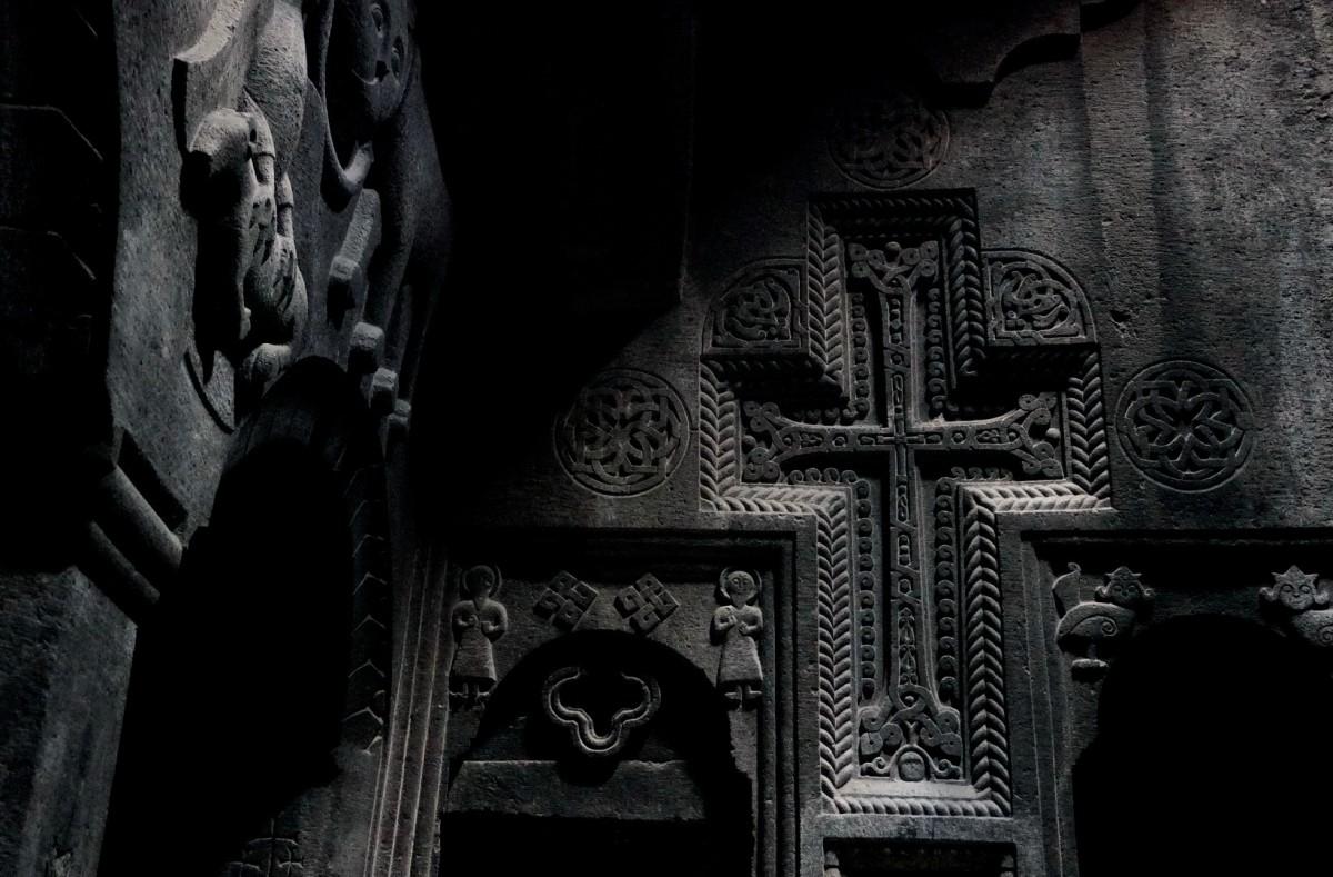 Zdjęcia: Geghard, Kotajk, Wnętrze kościołu Matki Bożej w skalnym klasztorze Geghard, ARMENIA