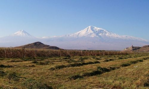 Zdjęcie ARMENIA / Wyżyna Armeńska / Khor Virap / Ararat i Khor Virap