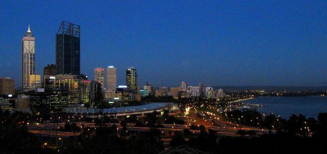 Zdjęcia: Perth, WA, widok nocą na Perth, AUSTRALIA