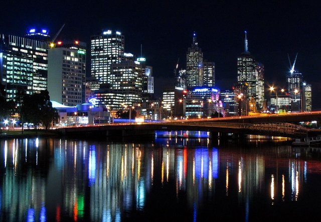 Zdjęcia: Melbourne, Australia, Wiktoria, nocna panorama Melbourne ze Spencer Street Bridge, AUSTRALIA