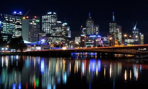 Zdjecie AUSTRALIA / Australia, Wiktoria / Melbourne / nocna panorama Melbourne ze Spencer Street Bridge