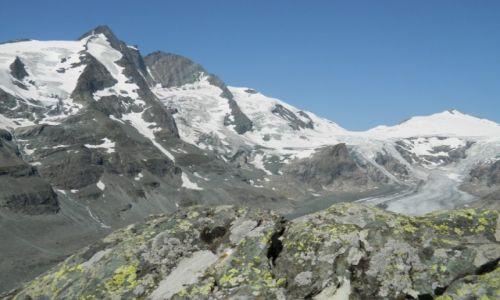 Zdjecie AUSTRIA / Tirol / droga alpejska nr 107 / widok na Grossglockner i lodowiec