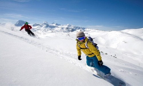 Zdjecie AUSTRIA / Dachstein / Krippenstein / Snowboardziści i narciarze na terenie Freesports Arena Dachstein Krippenstein