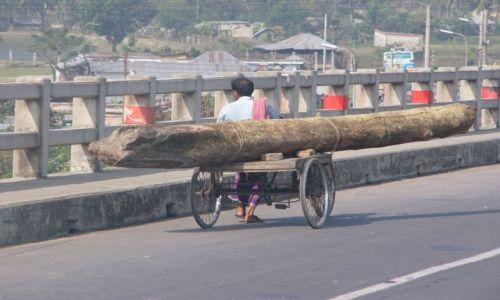 Zdjęcie BANGLADESZ / Bagerhat / Nad rzeką / Towarowy transport drogowy