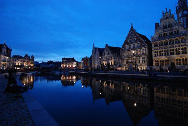Zdjęcia: Most św. Michała, Gand, Gand nocą , BELGIA