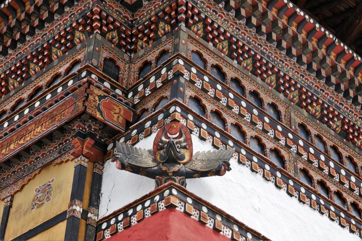Zdjęcia: Stolica kraju, Thimphu, Dzong w Thimphu - detal, BHUTAN