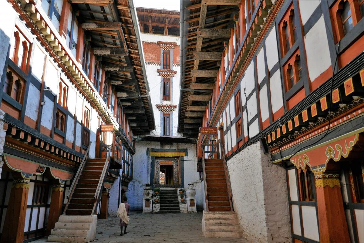 Zdjęcia: Dziedziniec dzongu, Trongsa Dystrykt, Dzong Trongsa, BHUTAN