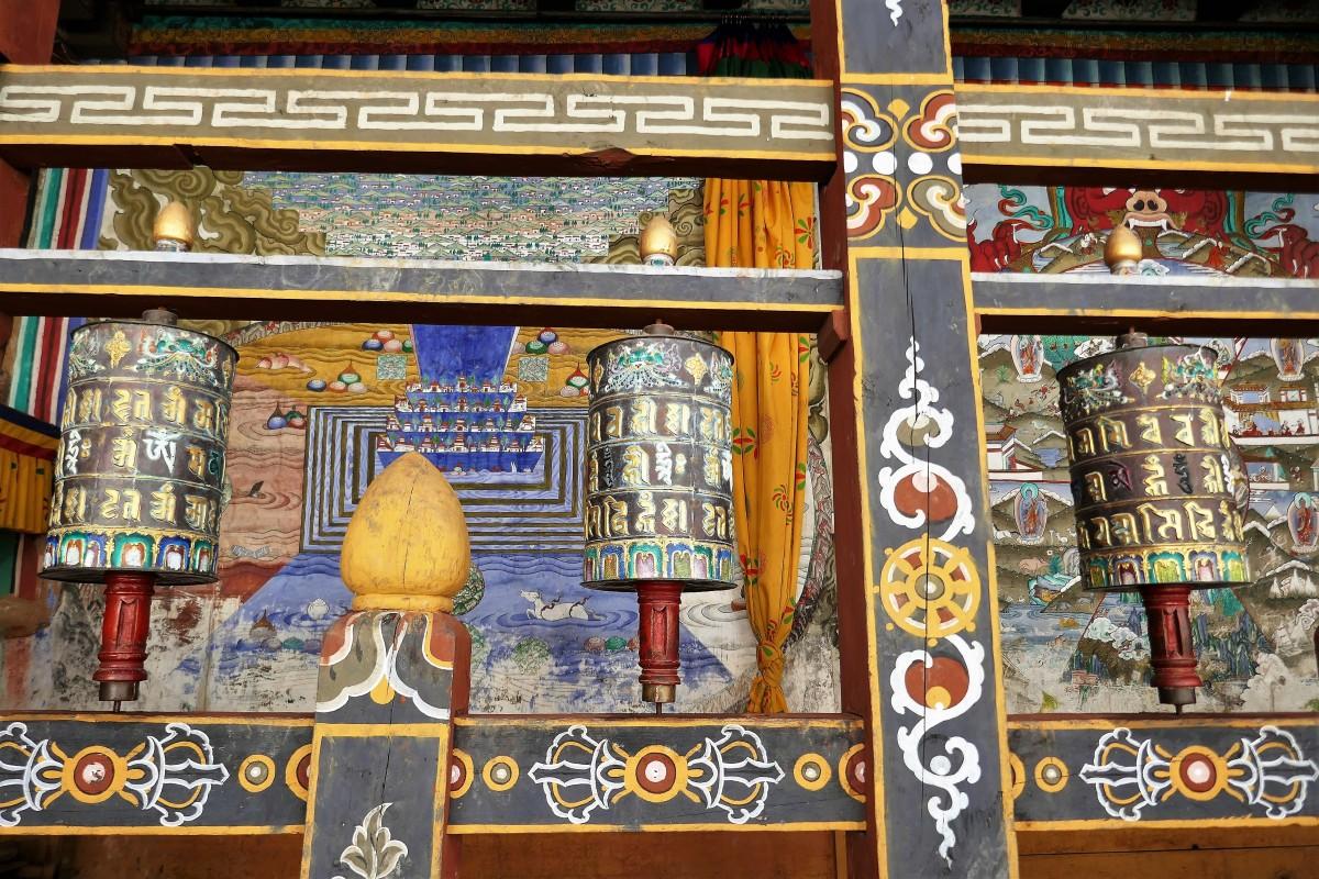 Zdjęcia: Świątynia w dzongu Trongsa, Trongsa Dystrykt, Młynki modlitewne w dzongu Trongsa, BHUTAN