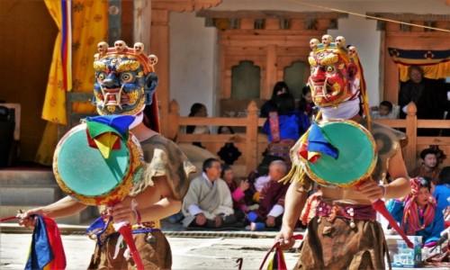 Zdjecie BHUTAN / Dystrykt Wangdue / Gangtey Monastery / Taniec masek z bębnami - lista UNESCO