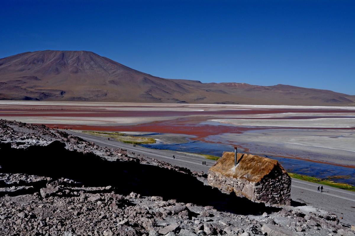Zdjęcia: Laguna Colorada, Altiplano-Potosi, Widoczek z chatką, BOLIWIA