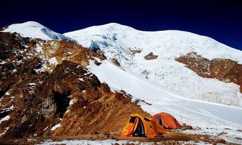 Zdjecie BOLIWIA / Cordillera Real / Nido de Condores / oboz w Nido de Condores pod Illimani
