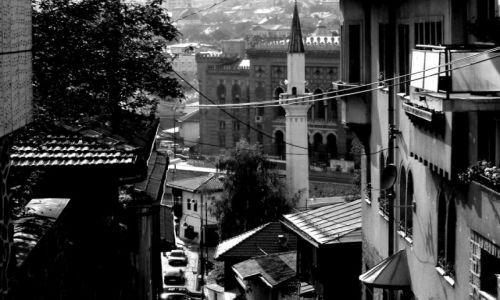 Zdjecie BOśNIA i HERCEGOWINA / - / Sarajewo / Widok na spaloną bibliotekę