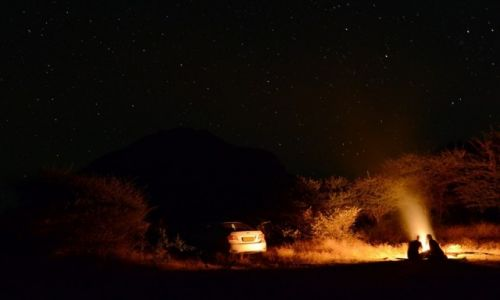 BOTSWANA / - / Wzgórza Tsodilo / Noc na pustyni Kalahari
