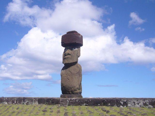 Zdj�cia: Aku Tahai, Wyspa Wielkanocna, Samotny moai, CHILE