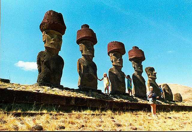 Zdjęcia: Anakena, Rapa Nui, Ahu Anakena i moaie, CHILE