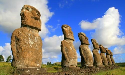 Zdjecie CHILE / Rapa Nui / Ahu Akivi / Ahu Akivi w słoneczne popołudnie 2