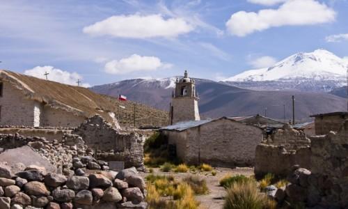 Zdjecie CHILE / Arica i Parinacota / NP Lauca, wioska Guallatire, liczba mieszkańców - 2 / U stóp wulkanu Guallatire