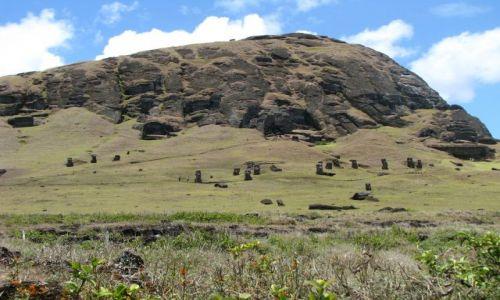 Zdjecie CHILE / Pacyfik / Wyspa Wielkanocna / Posągi na zboczu krateru Rano Raraku