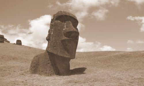 Zdjecie CHILE / Pacyfik. Polinezja / Wyspa Wielkanocna / Moai na zboczu krateru Rano Raraku