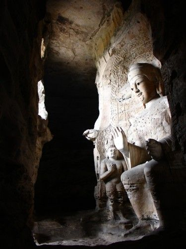Zdjęcia: Groty Yungang okolice Datongu, Shanxi, Siedzacy Budda, CHINY