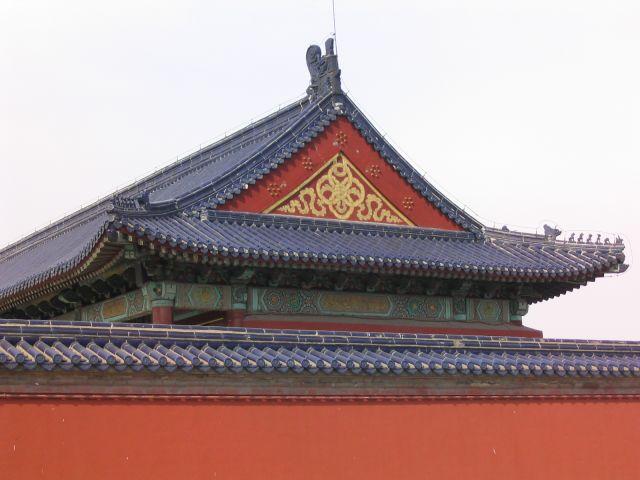 Zdj�cia: Pekin, �wi�tynia Nieba, Dach w czerwieni, CHINY