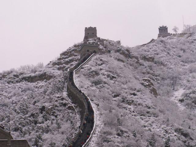 Zdj�cia: okolice Pekinu, Wielki Mur Chi�ski - zim�, CHINY