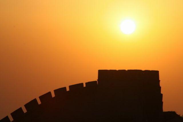 Zdjęcia: Badaling, zachód słońca nad Murem Chińskim, CHINY