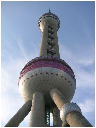 Zdjęcia: Wieża Perła Orientu, Shanghai, Perełka od spodu, CHINY