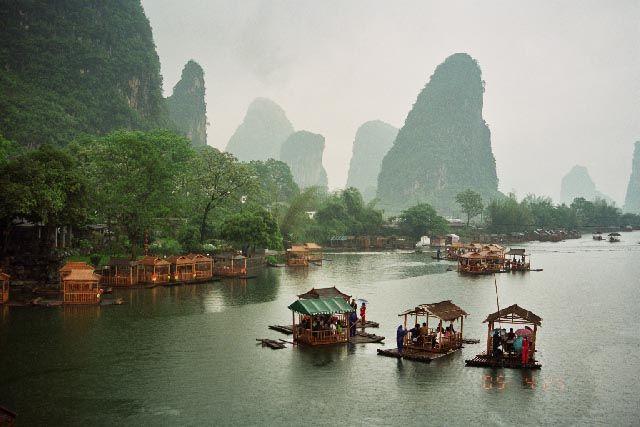 Zdjęcia: rzeka Yulong, Guangxi, pływająca kawiarenka, CHINY