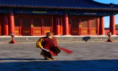 Zdjecie CHINY / Pekin / świątynia nieba / mnich
