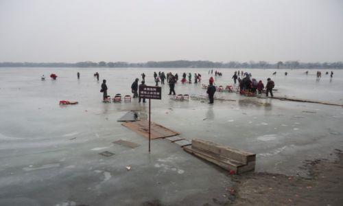 Zdjecie CHINY / Pekin / Pekin - Jezioro Kunming / Zakaz wstępu na lód