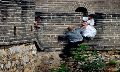 Zdjecie CHINY / - / Wielki Mur Chiński / policjanci i zł