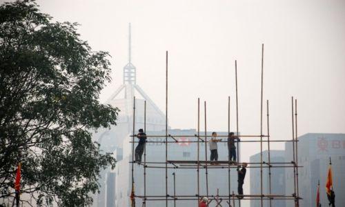 CHINY / Shaanxi / Xian / Tak buduje się rusztowanie w Chinach