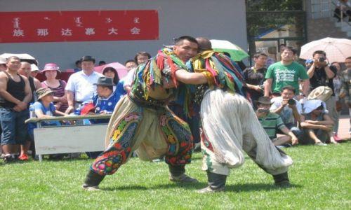 Zdjecie CHINY / Pekin / Uniwersytet Narodowości / Tradycyjne zapasy mongolskie (boke)