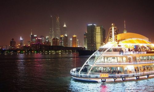 Zdjecie CHINY / Szanghaj / Nad Huangpu / Pudong nocą