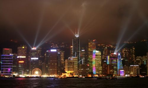 Zdjęcie CHINY / Hong Kong / Hong Kong / Pokaz świateł na wieżowcach