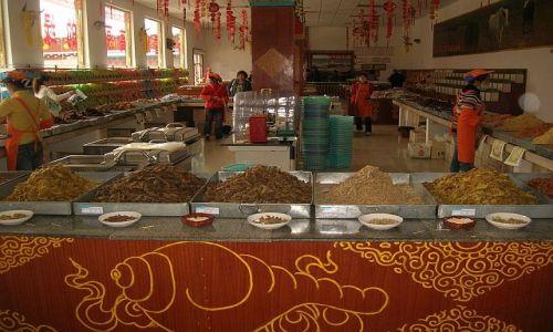 Zdjecie CHINY / Syczuan / Moxi - Chengdu / sklep mięsny