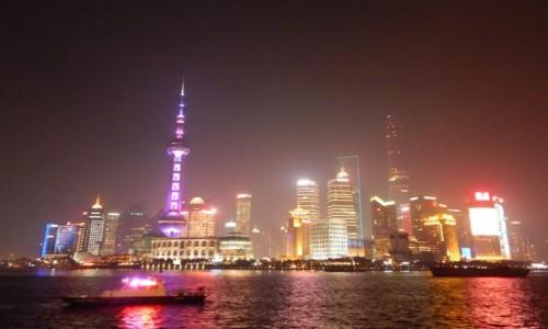Zdjecie CHINY / - / Szanghai - Bund w nocy  / .