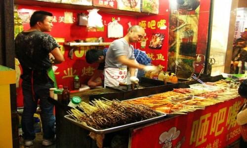 Zdjęcie CHINY / prowincja Anhui / Tunxi / Ulica Stara w porze kolacji