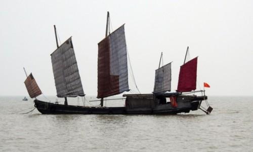 Zdjecie CHINY / Wuxi / Jezioro Tai / Dżonka