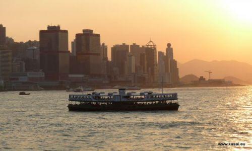 CHINY / brak / Hongkong / Chiny Hongkong zachód słońca z Kowloon