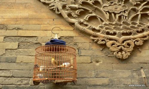 CHINY / brak / Xian / Chiny Xian klatka przy murze Wielkiego Meczetu
