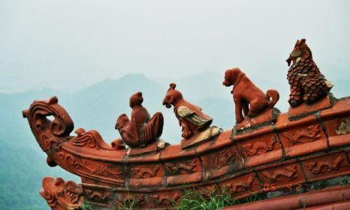 CHINY / Syczuan / Qingcheng Shan / świątynia Laoziego detal