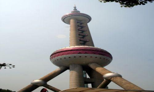 Zdjęcie CHINY / - / SZANGHAJ / Wieża telewizyjna - Perła Orientu - 468 m wysokości. Trzecia na świecie.