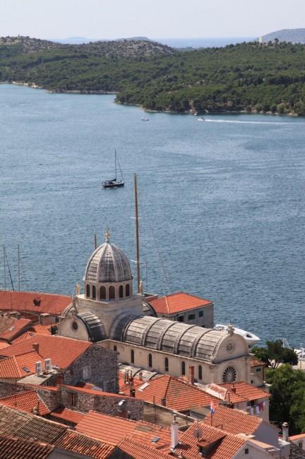 Zdjęcia: Twierdza św. Michała, Szybenik, Widok na Katedrę św. Jakuba, CHORWACJA