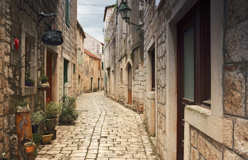 Zdjęcia:  Stari Grad , Środkowej Dalmacji -Hvar, Kręte uliczki , CHORWACJA