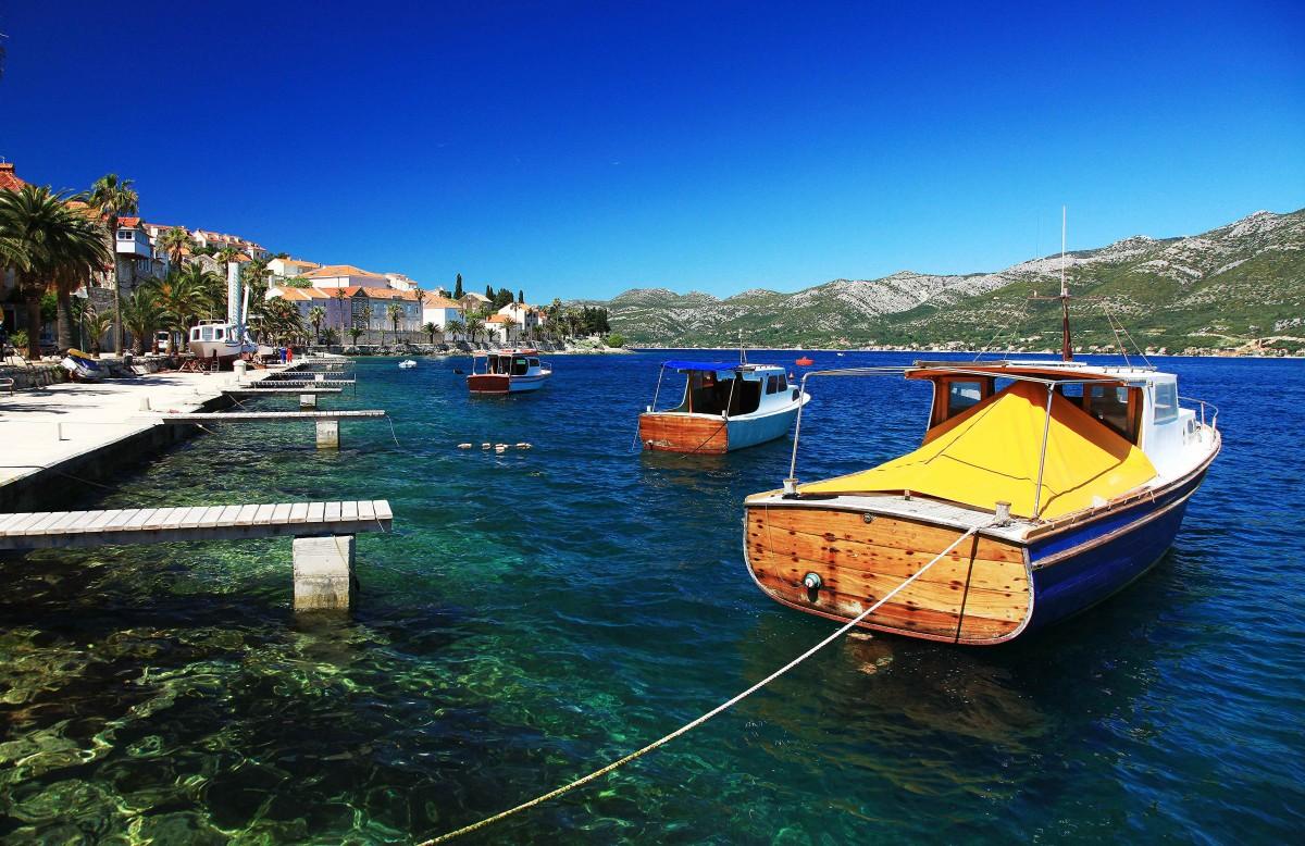 Zdjęcia: Korčula, Południowa Dalmacja, Łódki, CHORWACJA