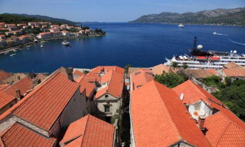 Zdjęcie CHORWACJA / Południowa Dalmacja / Korčula, wieża Katedry św. Marka / Kanał Pelješki